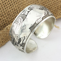 Wholesale Cuff Bracelet Vintage Wrap Alloy Silver Auspicious animals graphics Bangles Lucky jewelry LK2159