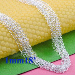 "Vogue Chains Necklace 925 Silver Charming ""O"" Chains Necklace 1mm 18inch 50pcs Hot Sale"