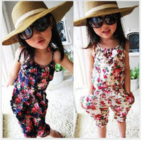 Wholesale Girls Floral Jumpsuit Suspender Trousers Pant Cotton Flower Print Kids Summer Outfit