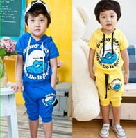 Wholesale B2w2 Baby Boy suits pc set kids Children Smurfs hooded boys tracksuit Triazolam cartoon set