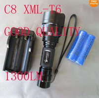 UltraFire C8 1300Lm CREE XM- L LED 5- modes Flashlight + 2x186...