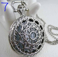 Antique mens pocket watches - Factory Seller Quartz Pocket Watch Classical Bronze Antique Mens lady Necklace Watches mix order