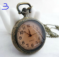 mens pocket watches - Factory Seller Unisex Quartz Pocket Watch Bronze Antique Mens Ladies Necklace Watches mix order