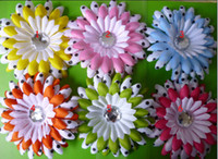 Cheap 24pcs 4 Inch Double-color dot Daisies Gerbera Flowers Hair Clips Baby Hair Bow Clip hj