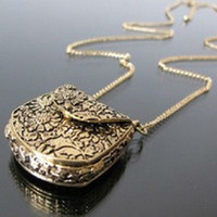 Wholesale Retro Vintage Beautifully Carved Metal Messenger Bag Pendant Necklace Chain E4254