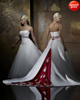 Wholesale 2014 new sparkle Red amp White Sleeveless Strapless Sweep Applique Satin Wedding Dresses Bridal Gowns