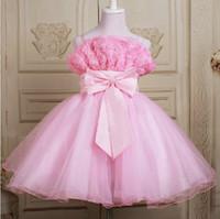 al por mayor vestido de boda de la princesa día-Regalo Día de los Niños Flor vestido de novia lindo vestido Princesa hermoso Angel vestido rosa blanco azul