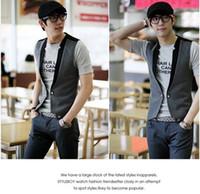 fashion vest - sweaters Double breasted Vest Men s Fashion Vest Mens Clothing Color Gray Black Size L XL
