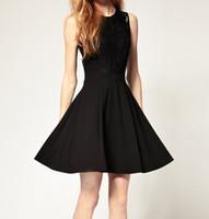 Wholesale summer lace waist black European style princess dress casual dresses prom dresses