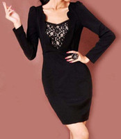 Fashion Dresses Plus Size D05 Sexy Black Lace Long Sleeves W...