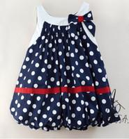 Wholesale Amissa Girls dresses ballon dress skirt blue dot bow dresses aa012