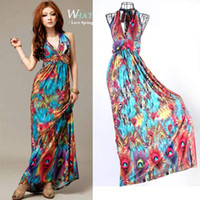 Wholesale 2012 SUMMER Women Colorful Sexy Long Maxi Dress Beach Cocktail Evening Dress Skirt