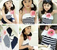 Wholesale Summer girls one piece swimwears skirt caps piece set Korea baby Swimwear Black and White Stripe D