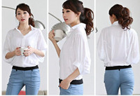 Wholesale 2012 NEW ARRIVAL Korean fashion women collar shirt ol plus size shirts white black