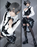 Wholesale Black Butler Ciel Phantomhive Cosplay Costume Vest Shirt Shorts tailing Headdress EyePatch Plus Wig Cane