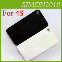 Wholesale For Apple iphone S Glass Back Cover Housing Battery Door Back Repair New cell Replacement Black