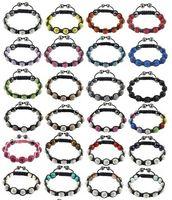 Wholesale Disco Crystal balls braid shamballa bracelet mm Clay crystal beads wrap charm bracelets