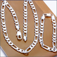 Wholesale High quality MM sterling silver plated chain necklace amp bracelet set fashion men s jewelry