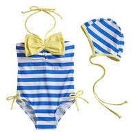 Wholesale Cute Girls Bathing Suits - 2pcs girl swimming wear girls one piece swimwear+hat cute bow kids swimwear swimsuit bathing suit