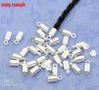 al por mayor collar de punta-200 SP collar cordón final punta bolas gorras W/lazo 9x4mm
