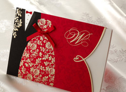 Wholesale The Bride and Groom Red Wedding Invitation With Cute Ribbon Printable NEW HOT
