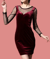 2012 Style Fashion Dresses Lace stitching velvet Long Sleeve...