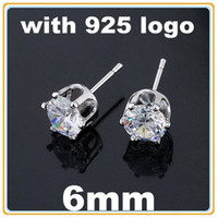 Wholesale 40pairs mm CZ Stud Earrings Zircon Stud Earrings Sterling Silver Stud Earrings With Logo