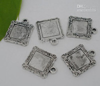 Wholesale 100 Silver Tone Square Frame Beads Settings x19mm