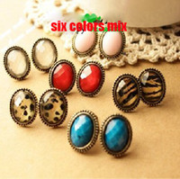 Wholesale Vintage cameo stud ellipse leopard red blue whit diamond earring jewellery style mix
