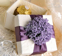 Wholesale Gift Package European Style Wedding Candy Box with Purple Ribbon and Flower