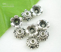 Wholesale 1500PCs Silver Tone Floral End Beads Caps mm