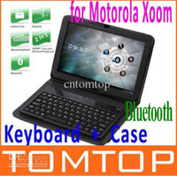 Wholesale Wireless Bluetooth Keyboard Folding Leather Case with holder for Xoom quot inch Tablet PC C1325
