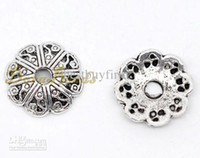 Wholesale 500 Silver Tone Flower Bead End Caps x2 mm Findings