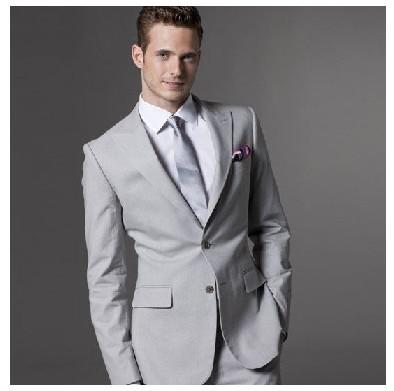 2016 Hot Selling Grey Groom Tuxedos Men'S Prom Suit Wedding ...