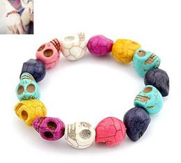 Unique Colorful Stones Skull Beads Bracelet Adjustable Free Shipping 12pcs