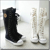 Wholesale Japan Cute Women Knee Boots Spring Zip Side Long Canvas Boots Cross Strap Front Sneakers BS1