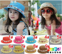 Wholesale Girls hats kids fashion cute straw flower caps children colorful hat infant adjunct sombrero jlb zsz