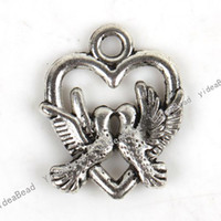Wholesale 150 Tibetan Silver Heart Birds Zinc alloy Pandent Charms Pendants In Stock Fit Necklace DIY