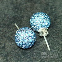 Wholesale Light Blue mm Sterling Silver Crystal Earring Gift Box choose color pairs