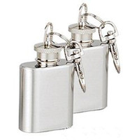 Wholesale 1oz stainless steel mini hip flask with keychain personlized logo is available
