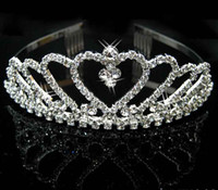 Silver Women's Alloy Wedding Bridal Bridesmaid Flower Girls crystal veil tiara crown headband