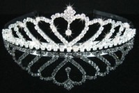 Women's Engagement Alloy Whole sale-Wedding Bridal Bridesmaid Flower Girls crystal veil tiara crown headband Mode jewelry