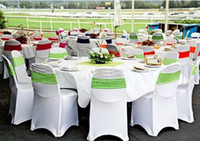 Wholesale 500pcs Fedex Wedding white lycra banquet chair cover with front arch