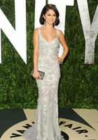 Floor-Length fair white - Selena Gomez Vanity Fair Flawless Silver summer Evening Dress with Lace Mermaid Celebrity Red Carpet Dresses Formal Prom Party Gown EWL219