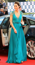 Wholesale kate middleton in jenny packham Sheer Lace Chiffon Celebrity Dresses with cap Sleeves Everning Gowns EWL218