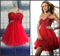 Wholesale Red Homecoming Dresses Actual Images One Shoulder Beaded Short Prom Dresses Plus Size Custom Made Cocktail Dresses