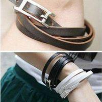 Wholesale Vintage Leather Bracelets wrap belt bracelet men women cheap charms bangle Hot fashion jewelry