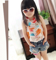 2T-3T Girl chiffon for girls polka dots colorful sling vest top shirt t-shirts with ruffles new arrival super fashion