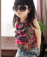 2T-3T Girl chiffon for girls polka dots Bohemia fashion ruffles sling vest top t-shirts with ruffles