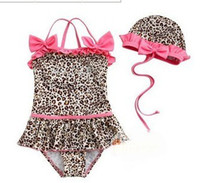 Wholesale Girl s swimsuits New Leopard pink bow Girl s vest one piece swimsuits cap suits baby suiut